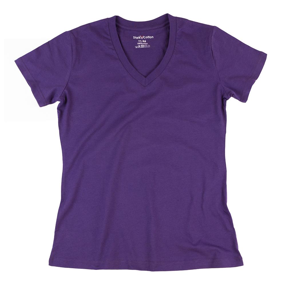 Футболка женская StarkCotton V-вырез 160, фиолетовая