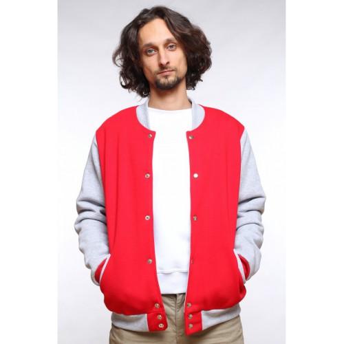Колледж куртка (бомбер), красная с серым