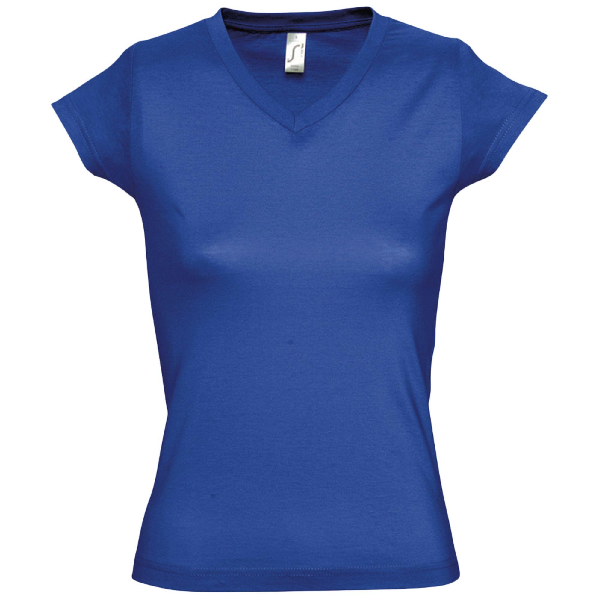 Футболка женская c V-образным вырезом MOON 150, ярко-синяя (royal)