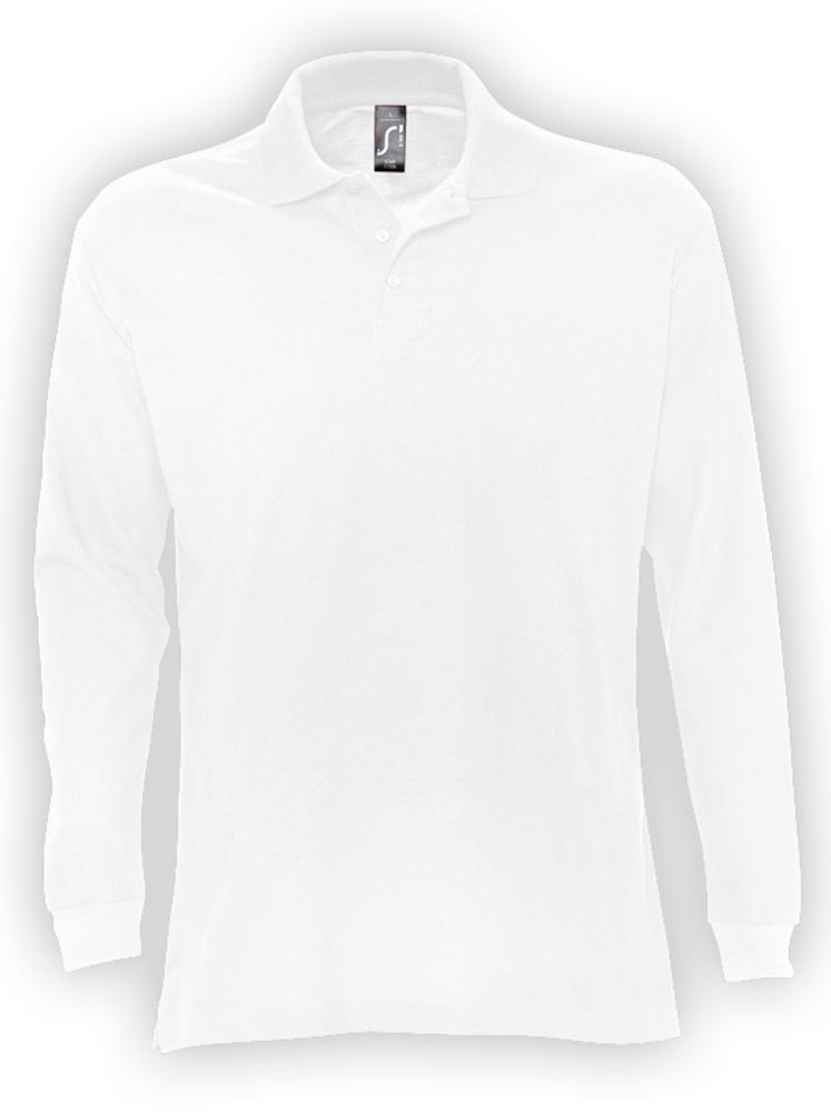 Рубашка поло мужская с длинным рукавом STAR 170, белая