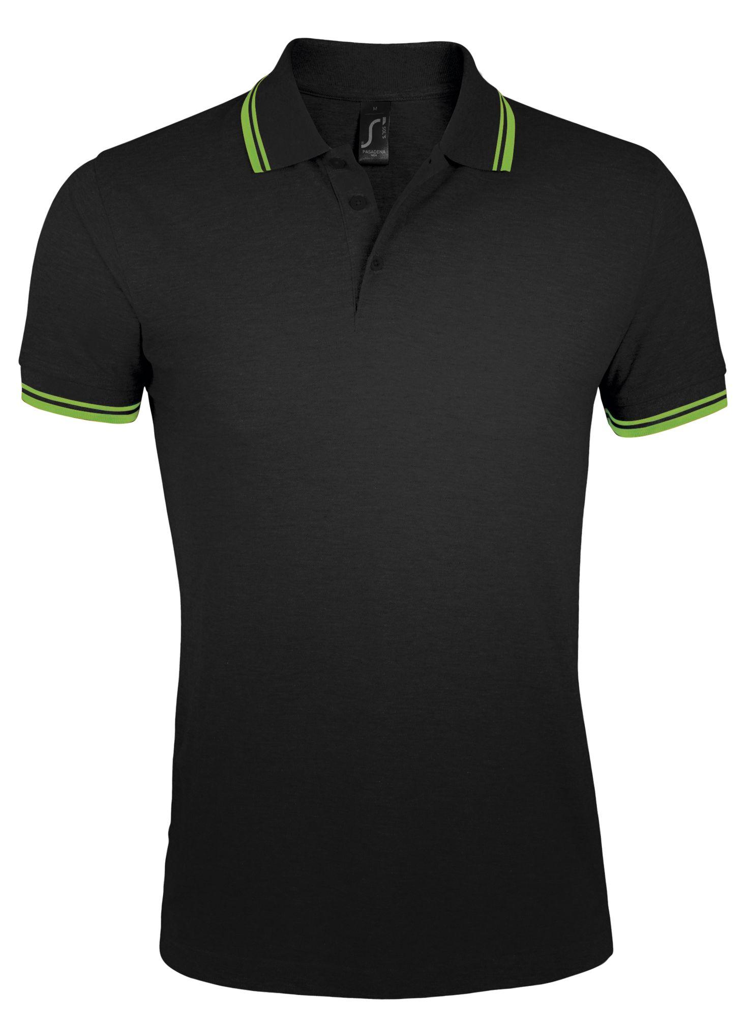 Рубашка поло мужская PASADENA MEN 200, черная с зеленым