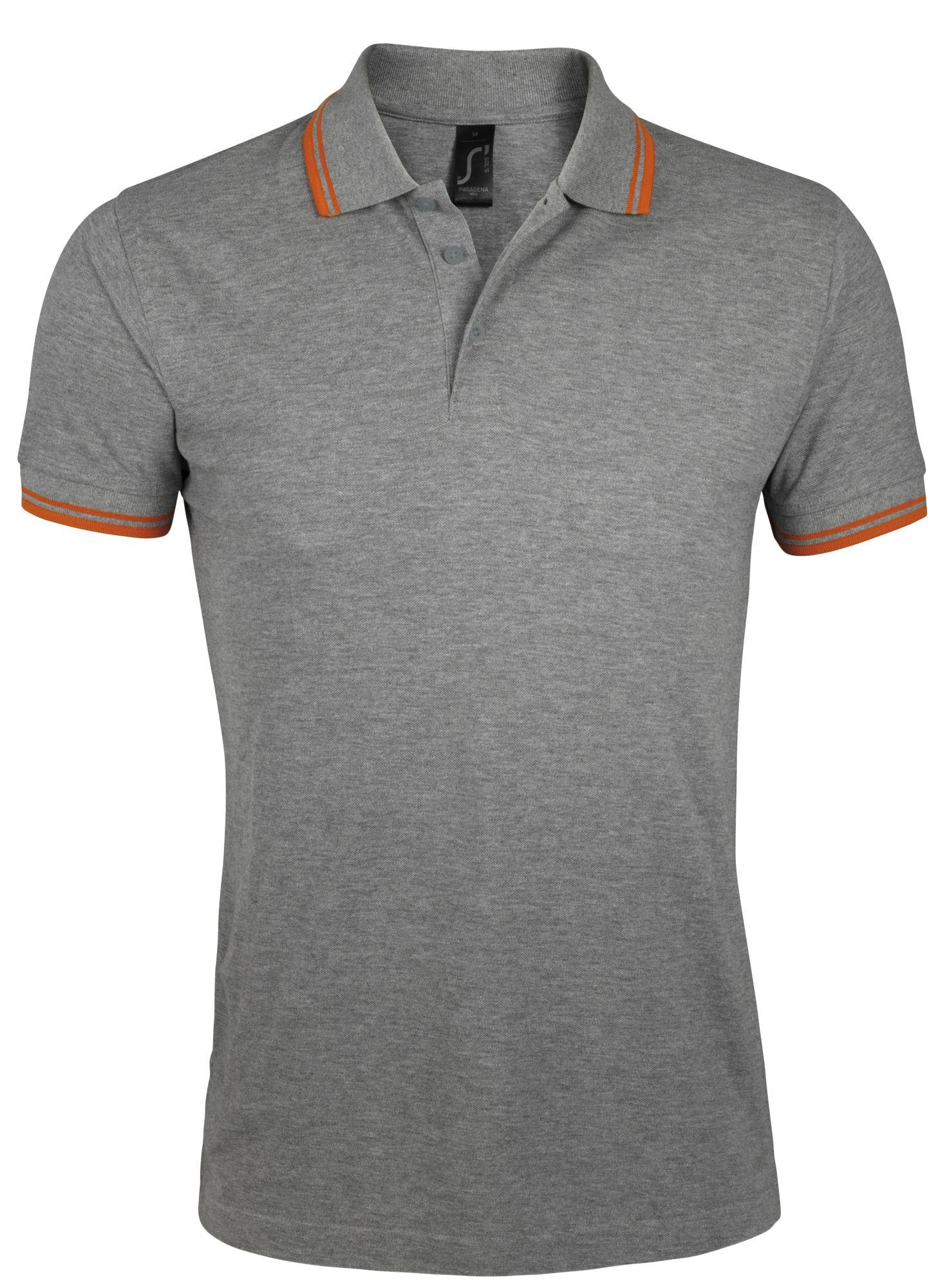 Рубашка поло мужская PASADENA MEN 200, серый меланж c оранжевым