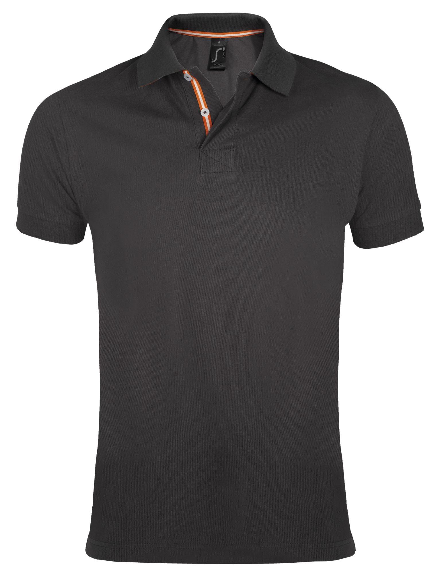 Рубашка поло мужская PATRIOT 200, темно-серая с оранжевым