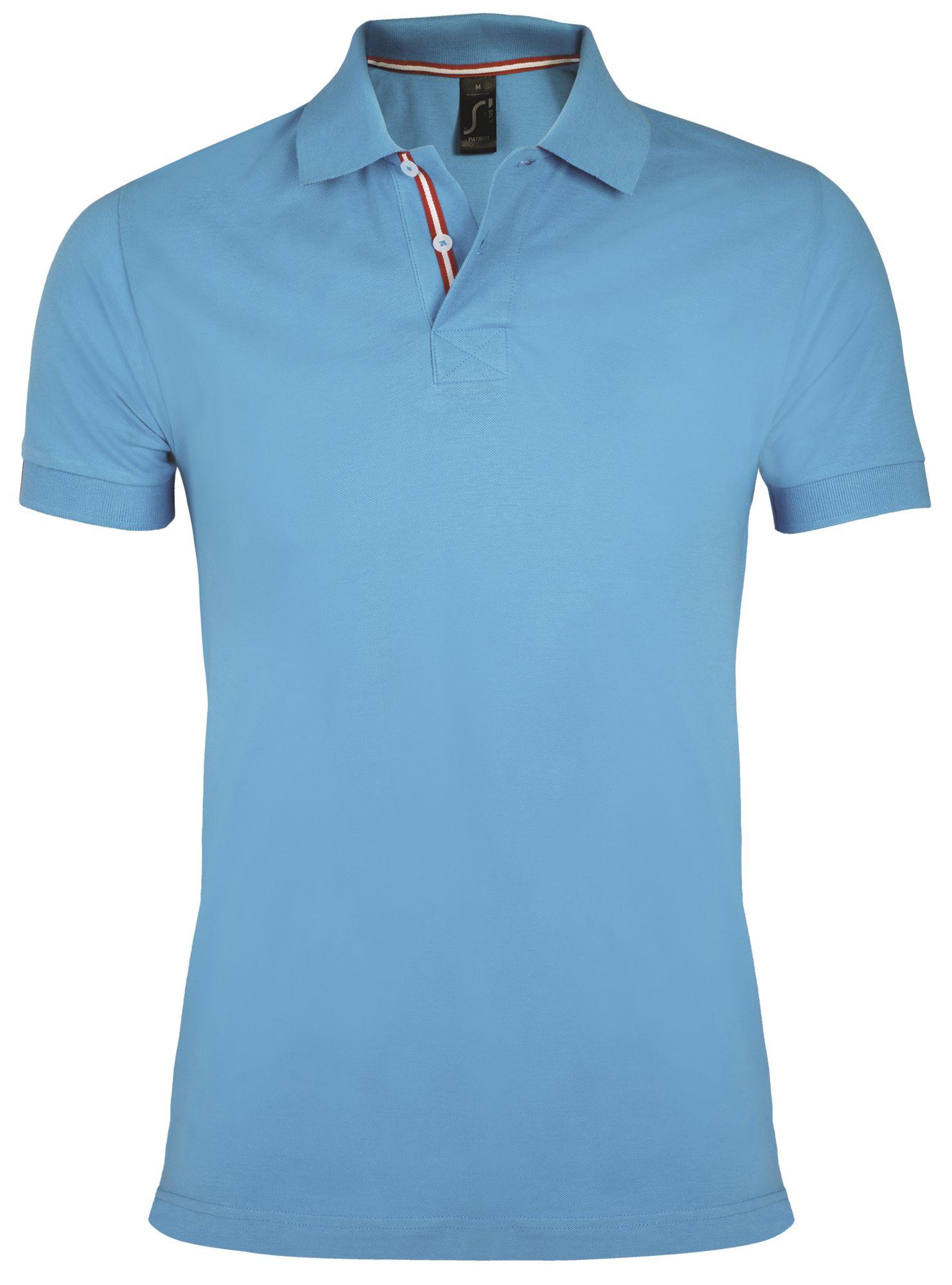 Рубашка поло мужская PATRIOT 200, голубая с красным