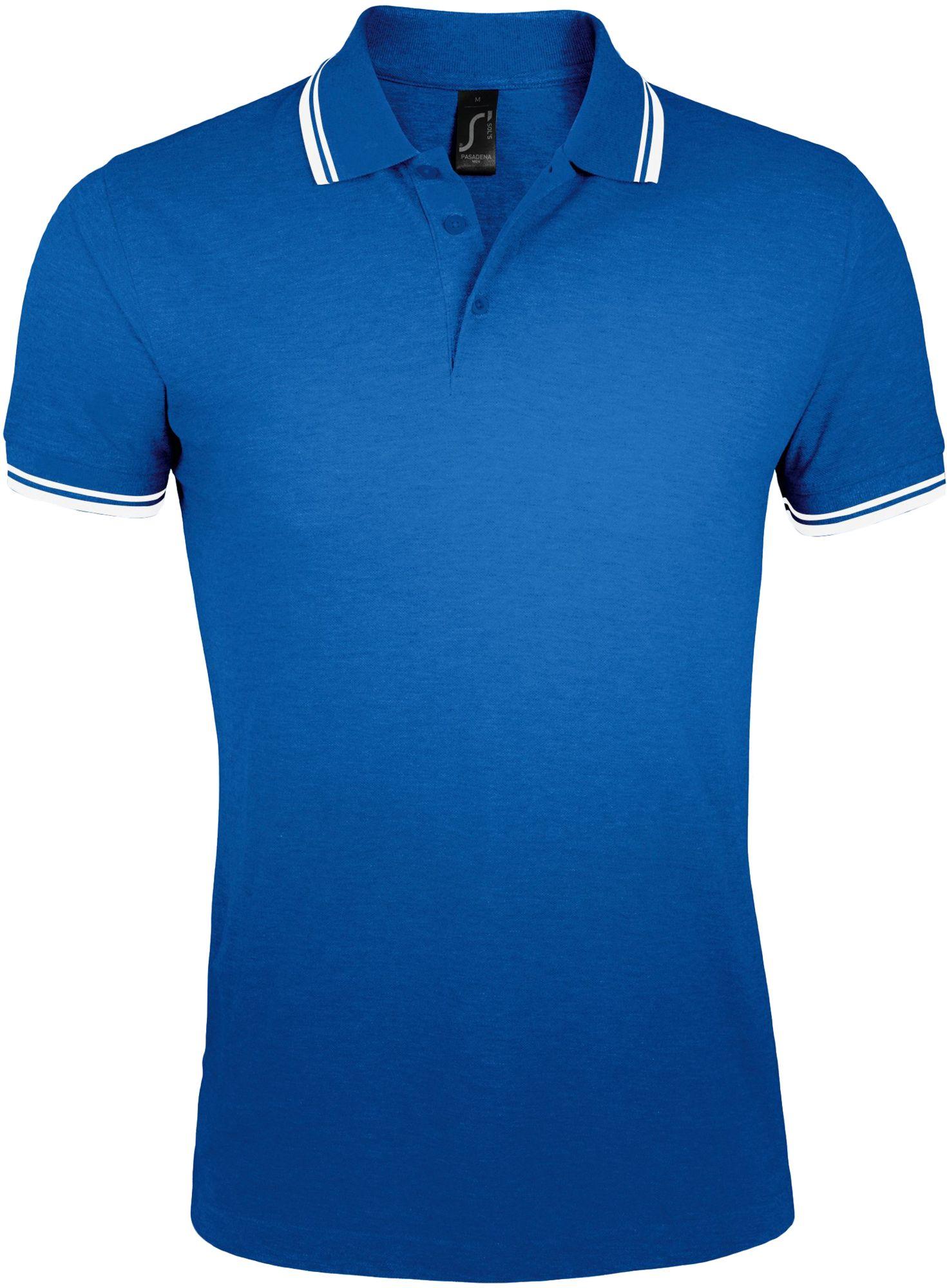 Рубашка поло мужская PASADENA MEN 200, ярко-синяя с белым