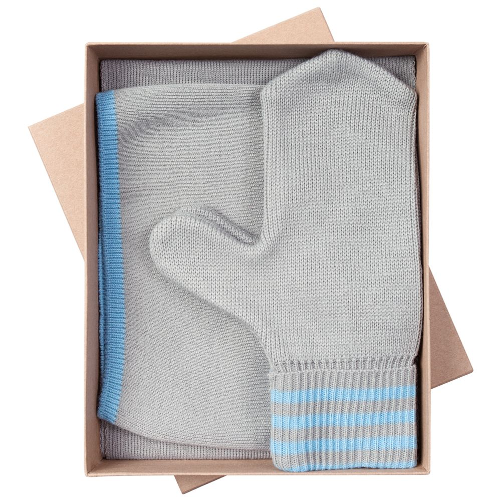 Набор Best: шапка, шарф и варежки, серо-голубой