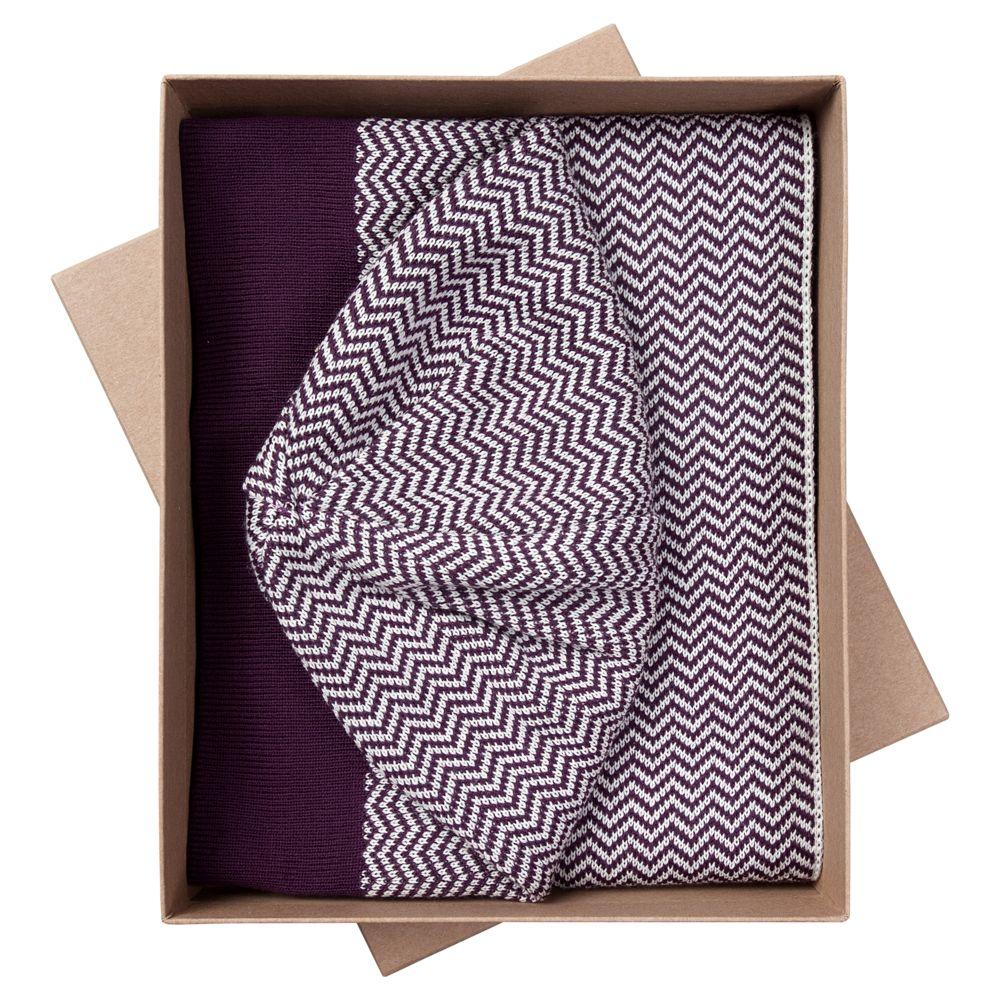 Набор Steps: шарф и шапка, баклажаново-белый