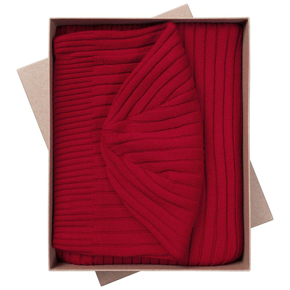 Набор Stripes: шарф и шапка, красный