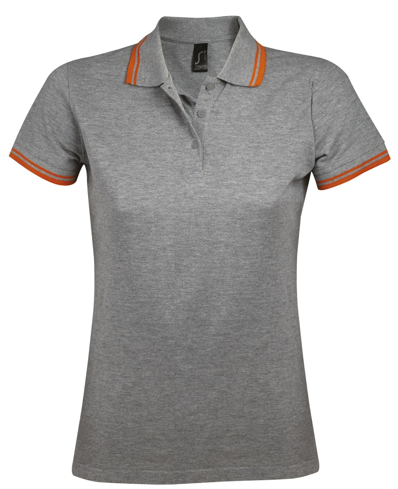 Рубашка поло женская PASADENA WOMEN 200, серый меланж c оранжевым