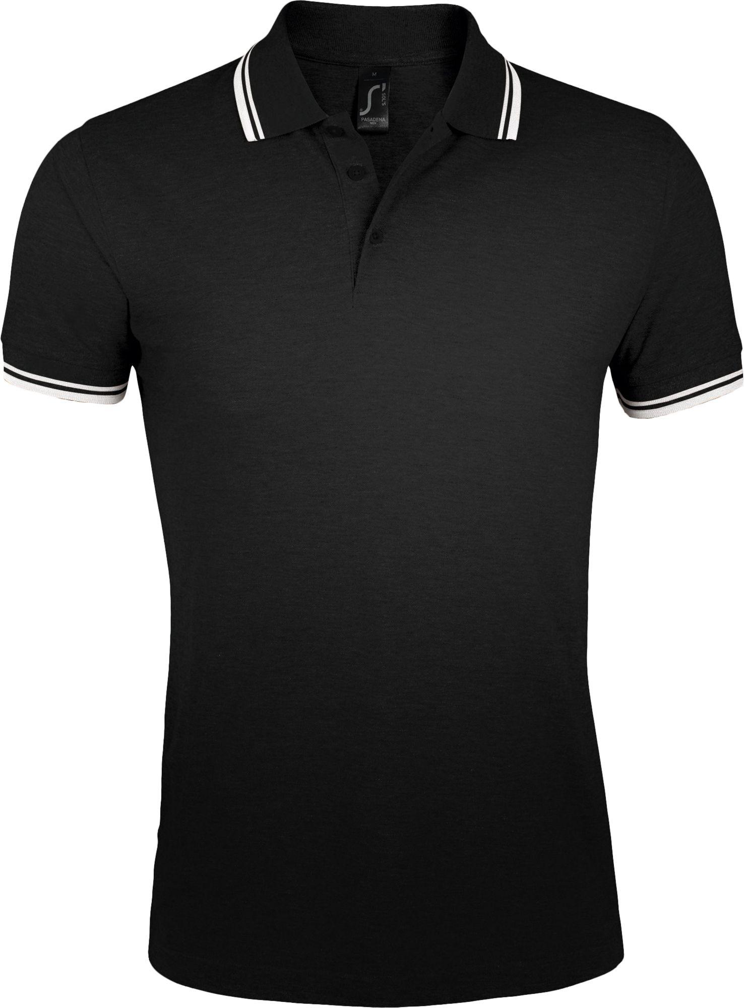 Рубашка поло мужская PASADENA MEN 200, черная с белым