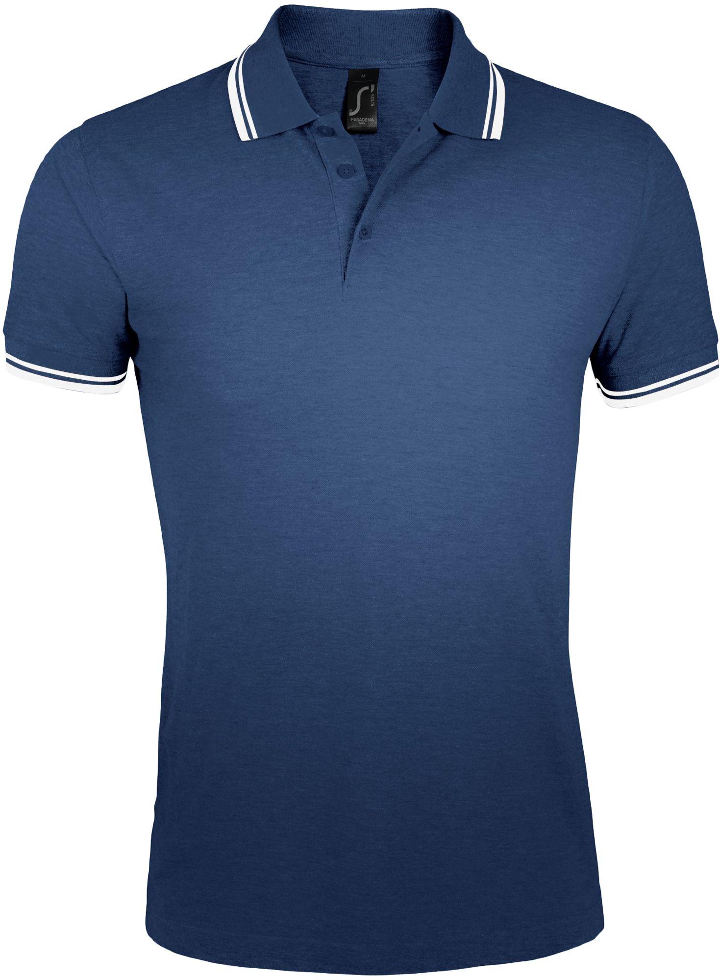 Рубашка поло мужская PASADENA MEN 200, темно-синяя с белым