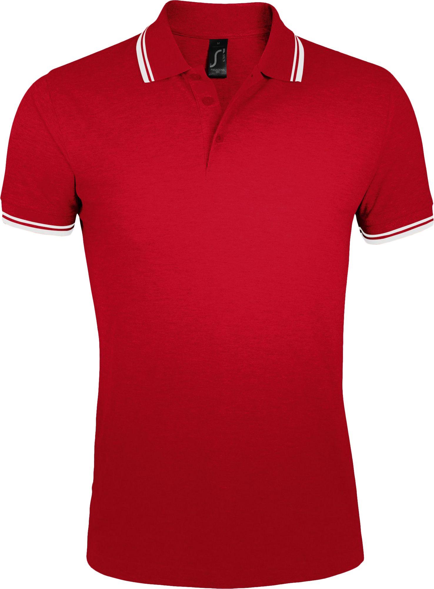 Рубашка поло мужская PASADENA MEN 200, красная с белым