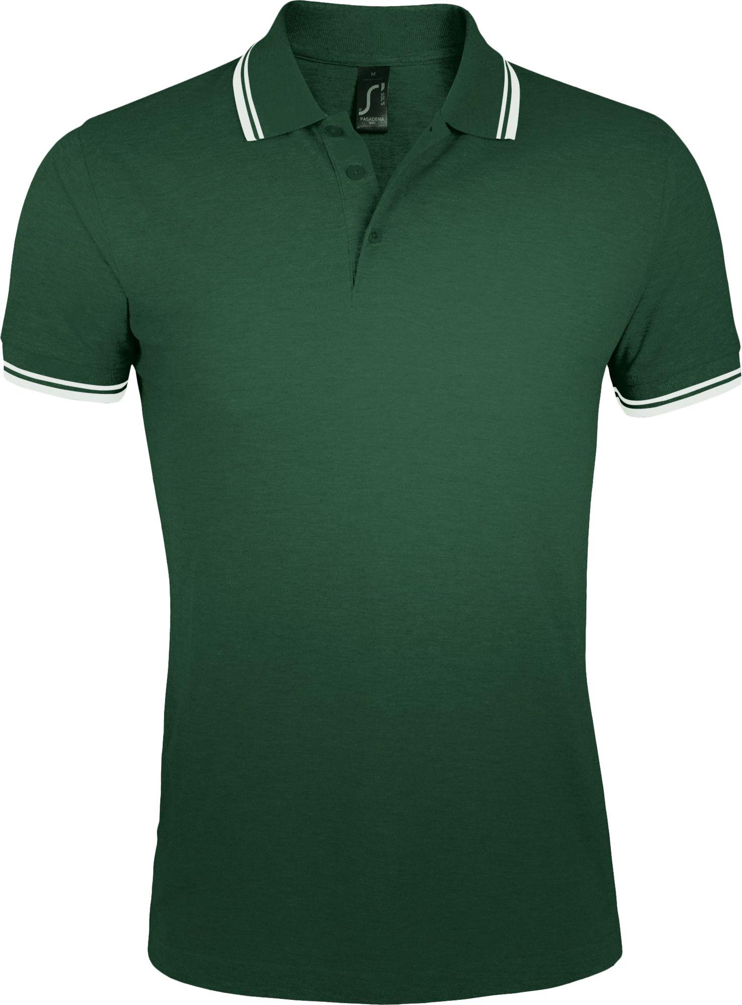 Рубашка поло мужская PASADENA MEN 200, зеленая с белым