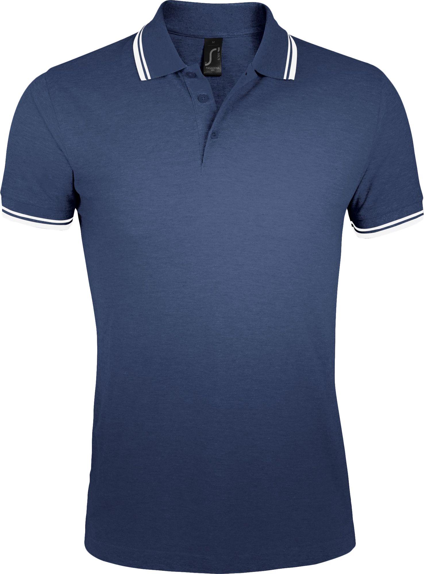 Рубашка поло женская PASADENA WOMEN 200, темно-синяя с белым