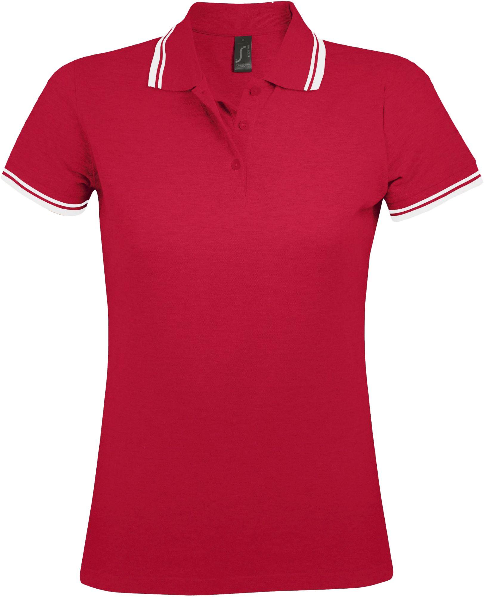 Рубашка поло женская PASADENA WOMEN 200, красная с белым
