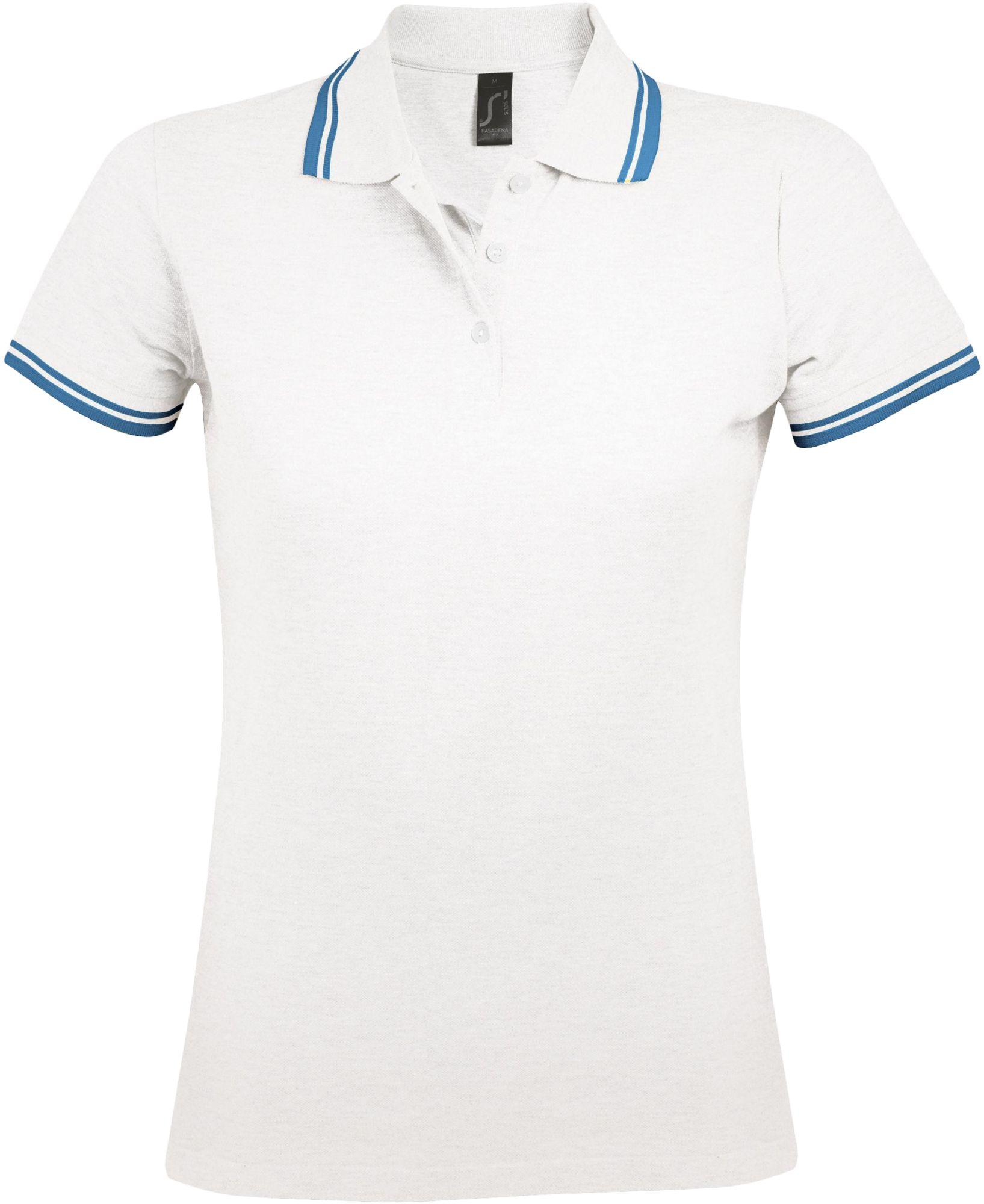 Рубашка поло женская PASADENA WOMEN 200, белая с голубым