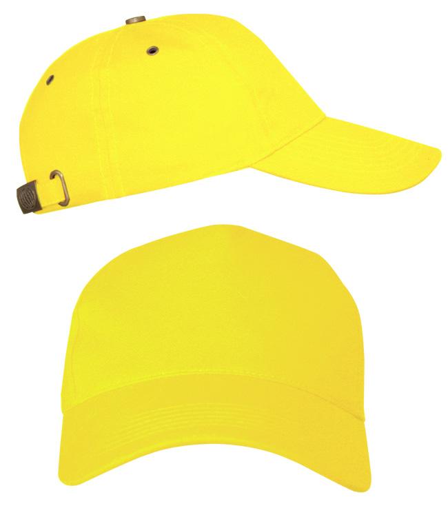 Бейсболки Leader 100 на металлической застежке, лимон