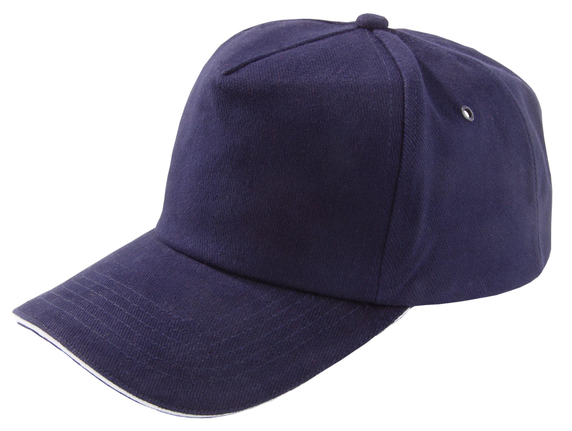 Бейсболка Unit Classic, темно-синяя с белым кантом