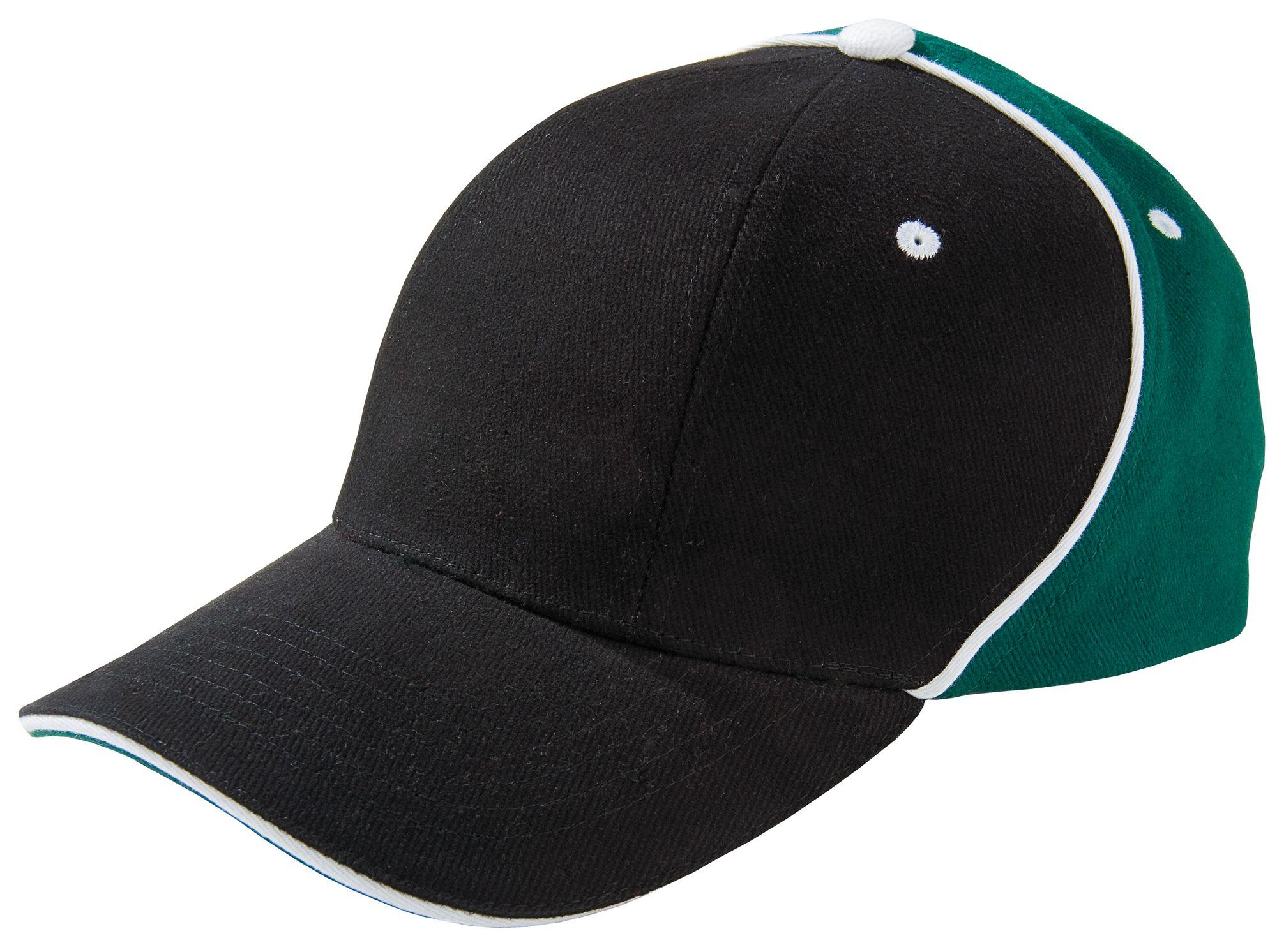 Бейсболка UNIT SMART, черная с зеленым