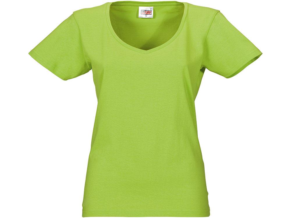 """Футболка """"Heavy Super Club"""" женская с V-образным вырезом, зеленое яблоко"""