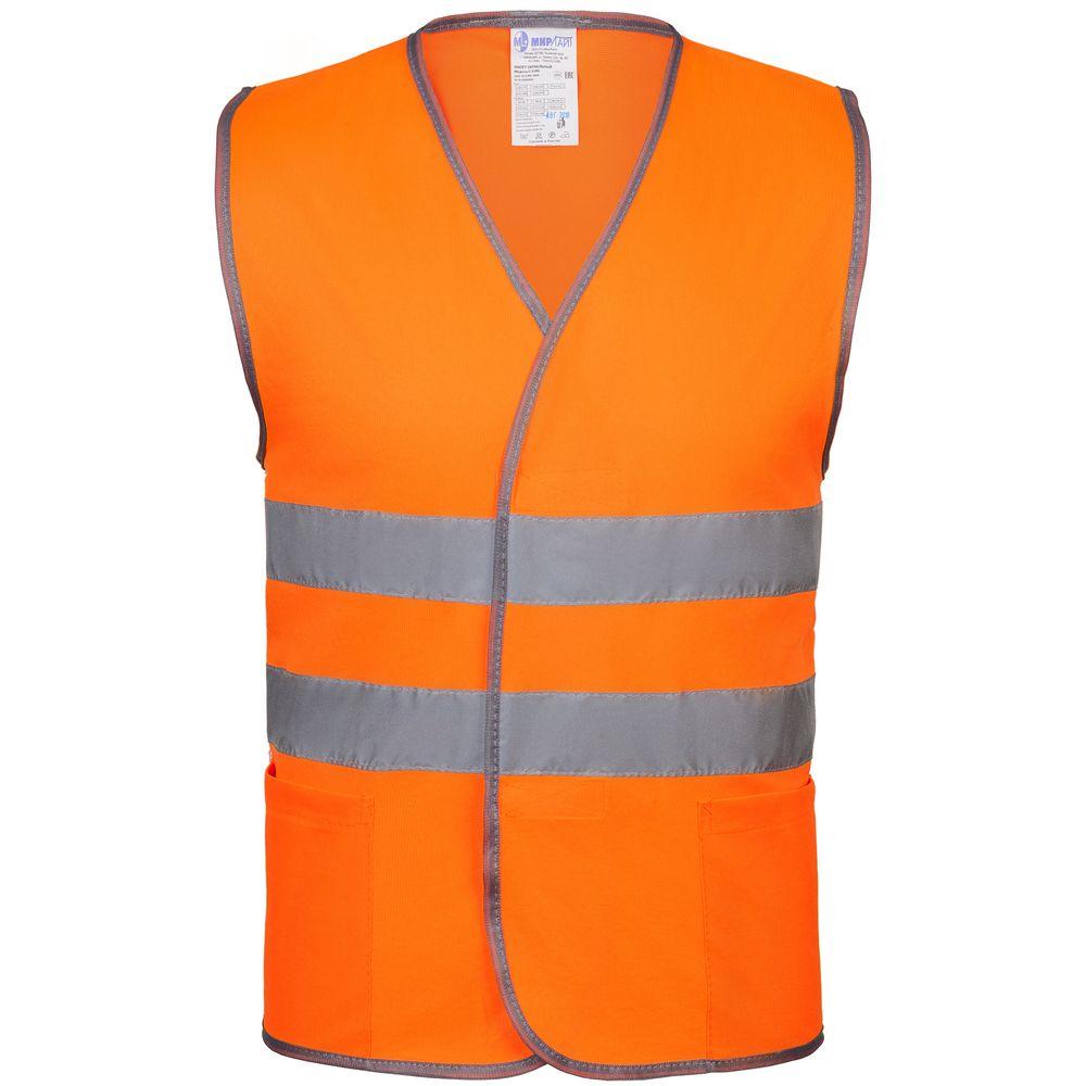 Жилет светоотражающий, оранжевый неон